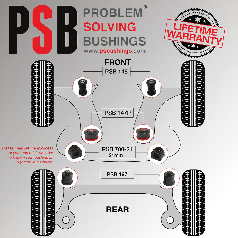 VW Bora MK4 Front Wishbone / Anti Roll 21mm / Axle Beam Poly Bush Kit 99-05  - PSB148/147P/700-21/197